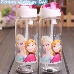 Wholesale High Quality Children Cup Cartoon Frozen Elsa Anna PP Texture Suction Cup with drinking straw water bottle