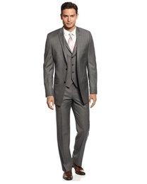 Wholesale 2015 Light Grey Slim Fit Custom Make Groom Tuxedo Two Botton Man Wedding Suits Bridgegroom boys Jacket Pants Tie Vest Wedding Party Suits