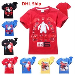 Wholesale Fast DHL Ship Newly Cartoon BIG HERO Kids Baymax Short Sleeve T shirts Cute Hiro Baymax Boys Top Tees Fashion Tshirt For Kids yr