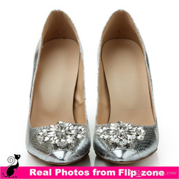 Wholesale Silver Rhinestone Pointed Toe Wedding Shoes with High Stiletto Heels Crystal Sequin Bridal Evening Party Prom Bridesmaid Dresses Shoes Cheap