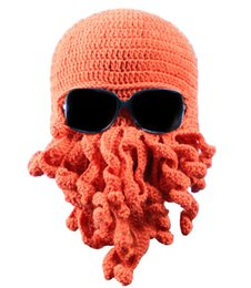 Wholesale Handmade Knitting Wool Beard Octopus Hats Novelty Winter Funny Squid Hat Crocheted Beanies Caps Unisex Ski Acrylic Cap Factory Diropship