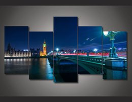 discount custom poster frame 5pcs with framed printed london night painting wall art childrens room decor