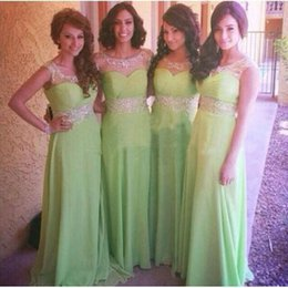 Wholesale Fancy Lime Green Long Bridesmaid Dresses Sheer Neck A Line Jewel Beads Ruched Sleeveless Maid Of Honour Gown