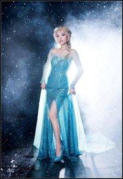 Wholesale 2015 Ladies frozen Elsa cosplay party dresses woman gorgeous Cartoon Blue sparkling princess dress adult halloween costume styles J081901