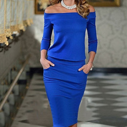 Wholesale dresses fashion hot new DH Ebay AliExpress Europe women sexy dress waist pocket collar long sleeved dress package hip