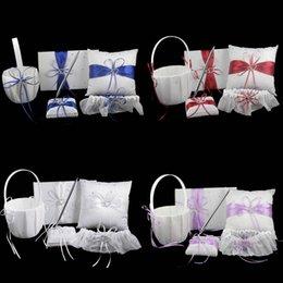 Wholesale 5Pcs set Colors Satin Wedding Decoration Product Ring Pillow Flower Basket Guest Book Pen Set Garter Home Decor