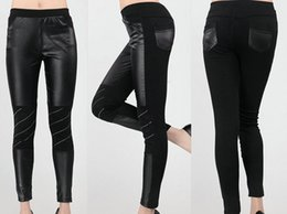 Wholesale Leggings Girls PU Leggings Hot Drills Splicing Sale faux leather Leggings Slim Pants Hot drop Shipping