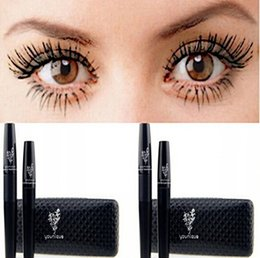 Wholesale 2015 New Mascara D FIBER LASHES version Waterproof Double Mascaras With Barcode and instruction one set