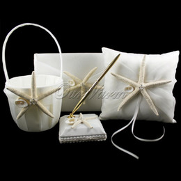 Wholesale 4Pcs set New Fashion Starfish Satin Wedding Decoration Ring Pillow Flower Basket Guest Book Pen Set Bridal Product Supplies HXZ