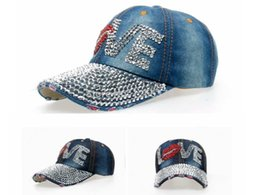 Wholesale Love Lips Rhinestone baseball caps hip hop cap women cap Leisure Fashion Adjustable Baseball cap Diamond Jean FS3559