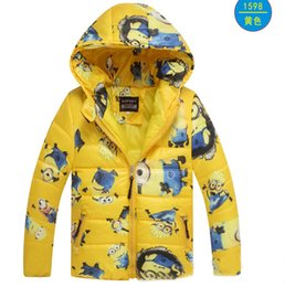 Wholesale 2016 Baby despicable me minion jacket winter hooded kids cotton padded jacket Winter Down Coat Warm Baby Children boys girl zipper hoodie