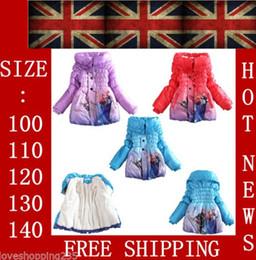 Wholesale 3 color Frozen Elsa Anna down winter coat Kids thick long cotton padded clothes Jacket Coat outwear Frozen