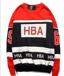 Free shipping autumn winter HBA Hood By Air red and black stitching 69 letters fleece sweater men women