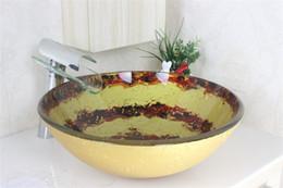 Continental Цветовой круг ванной раковина закаленное сосуд Раковина с хромированной кран Установить N-467
