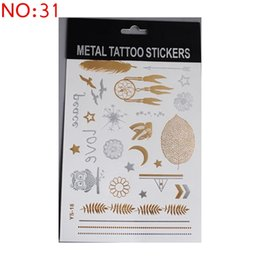 Wholesale 104Kinds Design New Gold Body Art Temporary Tattoo Sexy Non Toxic Waterproof Flash Tattoos Sticker Bling Bling Flash Tats cm