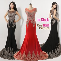 Wholesale 2015 Luxury Real Image Sheer Neck Black Red Formal Evening Prom Dresses Appliques Celebrity Pageant Wedding Party Gowns India Arabic