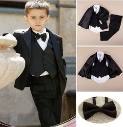 Wholesale Custom Made Kid Notch Collar Children Wedding Suit Boys Attire Jacket Pants Tie Shirt Vest