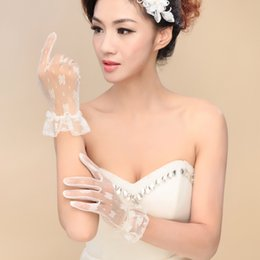 Wholesale 2015 New arrival Cheap Lovely Sweet Lace Tulle Bridal Gloves Wrist Length Short Five Fingers Flowers Bow Wedding Gloves Bridal Accessories