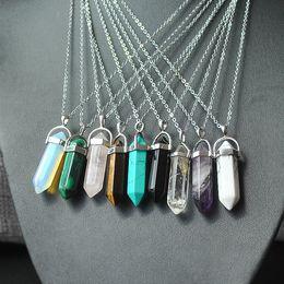 Natural Stone Bullet Shape Pendentif Colliers en acier inoxydable / Chaînes en cuir Hexagonal Prism Christian Cross Crystal Bijoux pour les femmes hommes