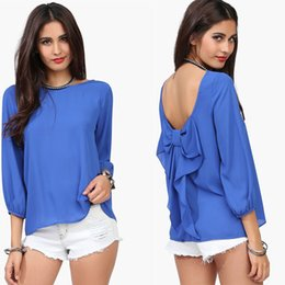 Wholesale Europe USA Top New Brand Elegant Big Size XXL Women Shirt AllMatch feminine Blouse blusas femininas Sexy Backless Women Blouse