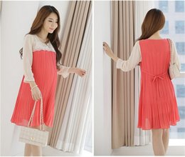 Wholesale 2015 Korean Maternity Dress Elegant Clothes for Pregnant Women Plus Size Chiffon Clothing for maternity