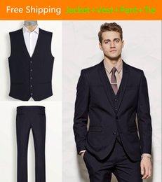 Wholesale Custom Made Groom Tuxedos Wedding Suit Black Jacket Vest Pants Tie Two Button Vent Side Detalle Boda Hombre TE6306