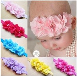 Wholesale Childrens Pretty Princess Fabric Hair Accessories Hot Sale Baby Girls Korean Style Pearl Flower Headband