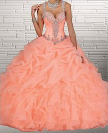 Wholesale 2015 Organza Ball Gown Quinceanera Dresses Sweetheart Beads Crystals Cascading Ruffles Sweet Princess Dresses Customer Made Plus Size