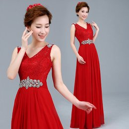 Wholesale The New Type Of Double Shoulder Long Wedding Dress Sisters Engaged In The Evening Dress Red Lace Wedding Dress B