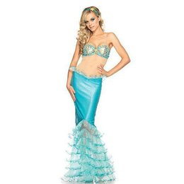 Wholesale Halloween Party Cosplay Anime Costume Role Playing Blue Mermaid Bra Skirt Costume Sexy Clothing VLS6828
