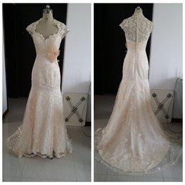 Wholesale Lace Champagne Wedding Dresses Mermaid Full Back Cap Sleeve Sexy Sweep Train Back Zip US2 Real Image Wedding Gowns Cheap