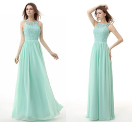 Wholesale 2015 chiffon Lace junior bridesmaid dresses Crew Capped Vestidos De Feista Cheap Long Prom Gowns Mint Green Maid Of honor In Stock WXC