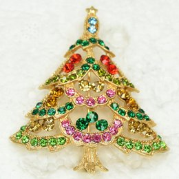 Wholesale Golden Multi color Crystal brooch Rhinestone Christmas tree Pin Brooch Christmas gifts Fashion Costume jewelry accessories C666 E2