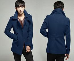 Wholesale Coats Jackets Wool Blends men coats winter fashion slim fit coat male manteau homme Men s jackets