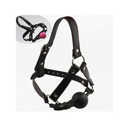 Wholesale Pink Black bondage gear faux leather head harness silicone ball gag bondage gag gear fetish gear sex toy BDSM Adult games