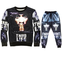 2017 boys swag clothes Wholesale,2pac Tracksuits Men Sport Suits 3D Tupac Sweatshirt and Jogger
