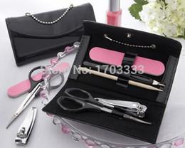Wholesale Nail clipper sets Bridal Wedding Favor Little Black Purse Patent Leather Five Piece Manicure Set DHL Fedex Free