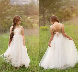 Wholesale 2015 Gold Sequin Junior Bridesmaid Dresses Open Back Flower Waist Elegant Floor Length Wedding Bridesmaid Party Prom Gowns LH