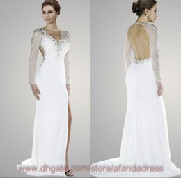 Wholesale 2014 Hot selling white sheath formal evening gowns sequins beaded sweep train prom dresses with long sleeves V neck sexy backless P
