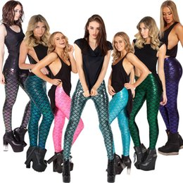 Wholesale Fashion Sexy Women Stretchy snakeskin Fish scale mermaid Printing Leggings seamless Pencil pants Spring Summer Piece