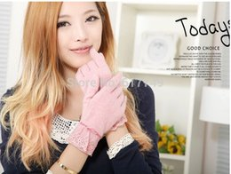 Wholesale Fashion NWT WARMEN Women s Stretch knit winter warmer wool lace and with bows gloves