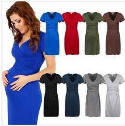 Wholesale Maternity Women Dress Tunic Short Sleeve V Neck Stretchy Bodycon Pregnant Dresses Vestidos Pregnant women clothing Mummy dress DDA3348 pc