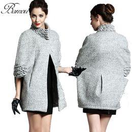 Wholesale Poncho Women Winter Coat Woolen Top Coats Cardigans Fleece Cape manteau Ladies Jackets abrigos mujer casaco feminino