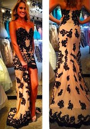 Wholesale Promotion Sweetheart Black Lace Appliqued Evening Prom Gowns Sexy Peacock Short Front Long Back Prom Dresses