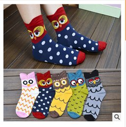 Wholesale New cartoon socks for women ladies animal cotton socks owl design Korean style socks