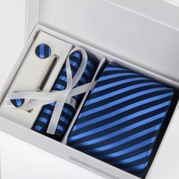 Wholesale Father s Day New Men s Polyester Selk Ties Slolid color Satin Plain Neckties Party Wedding Ties Neck tie set Gift Box MT0002