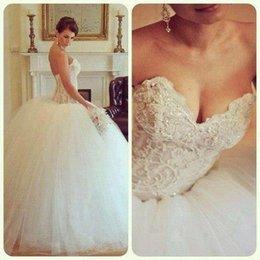 Wholesale big poofy wedding dresses Custom Made Tulle Ball Gown Lace Applique vestidos de novia Backless Ballgown dress Sweep train