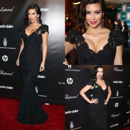 Wholesale 2015 Black Celebrity Dresses Red Carpet Lace Beads Cap Sleeves V Neck Kim Kardashian Sexy Lively Golden Globe Awards Mermaid Evening Dresses