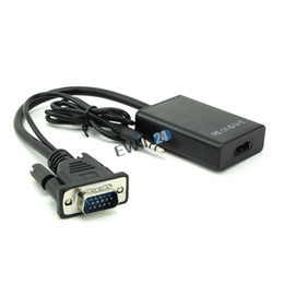 Discount vga female cables New VGA Male To HDMI Output 1080P HD +Audio TV AV HDTV Video Cable Converter Adapter