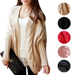 Wholesale S5Q Oversized Loose Knitted Women s Sweater Batwing Sleeve Tops Cardigan Outwear AAAEKT